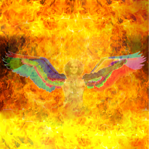 YEH: The image of Yeh - Winged angelic being encased in fire with the appearance of a man