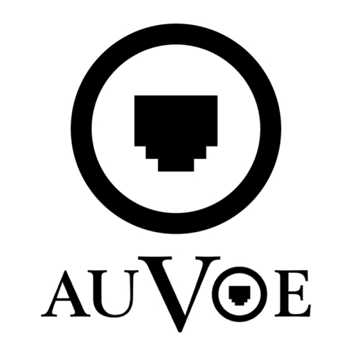 @auvoe logo Cat5 Fem plug inside of a circle.